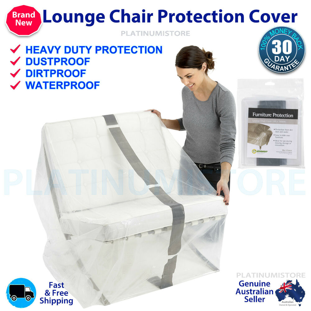 2 X Furniture Protection Cover Plastic Storage Bag Small Lounge Chair Sofa 2 Pk Ebay