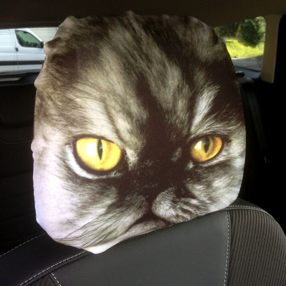 car seat head rest covers 2 pack persian cat design made in yorkshire ebay. Black Bedroom Furniture Sets. Home Design Ideas