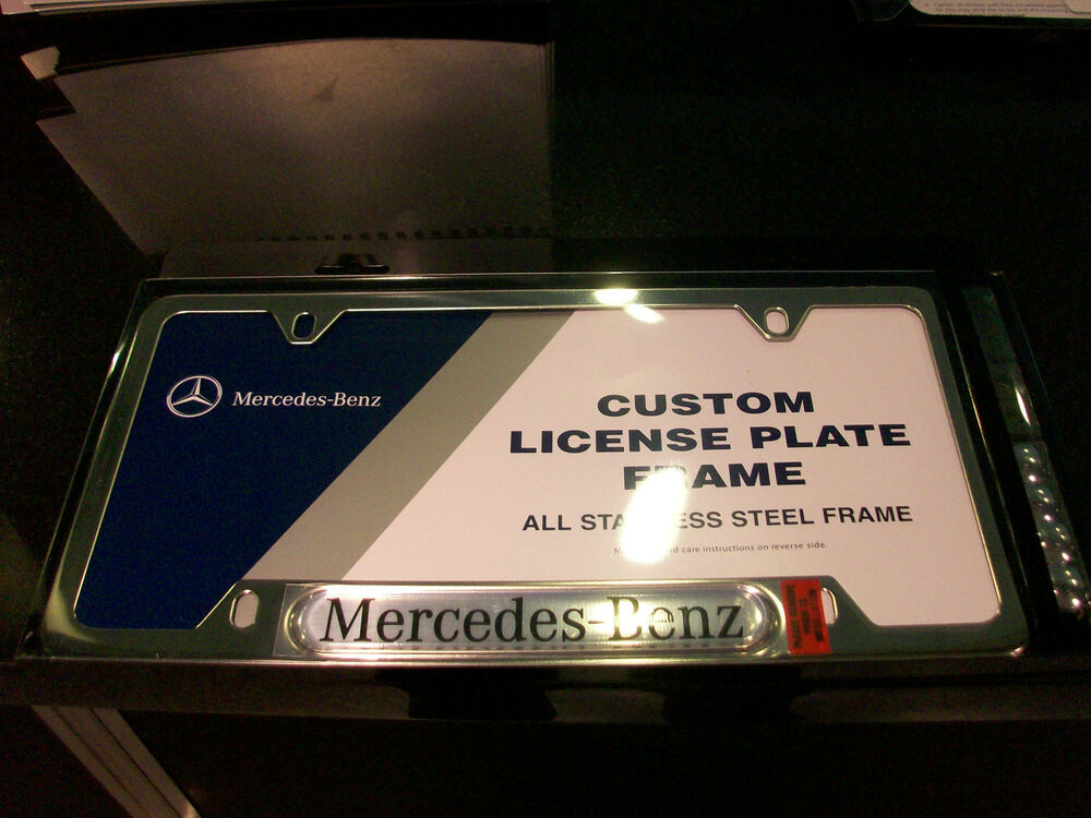 Oem genuine mercedes benz trunk polished license plate for Mercedes benz license plate logo