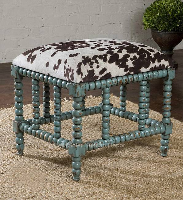 Tuscan Rustic Ranch Turquoise Cowhide Cow Ottoman