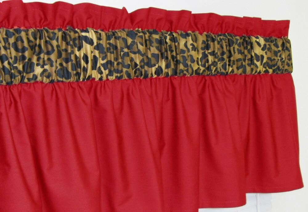 3 In Wide Rod Pocket Red Cheetah Leopard Window Curtain Valance Ebay