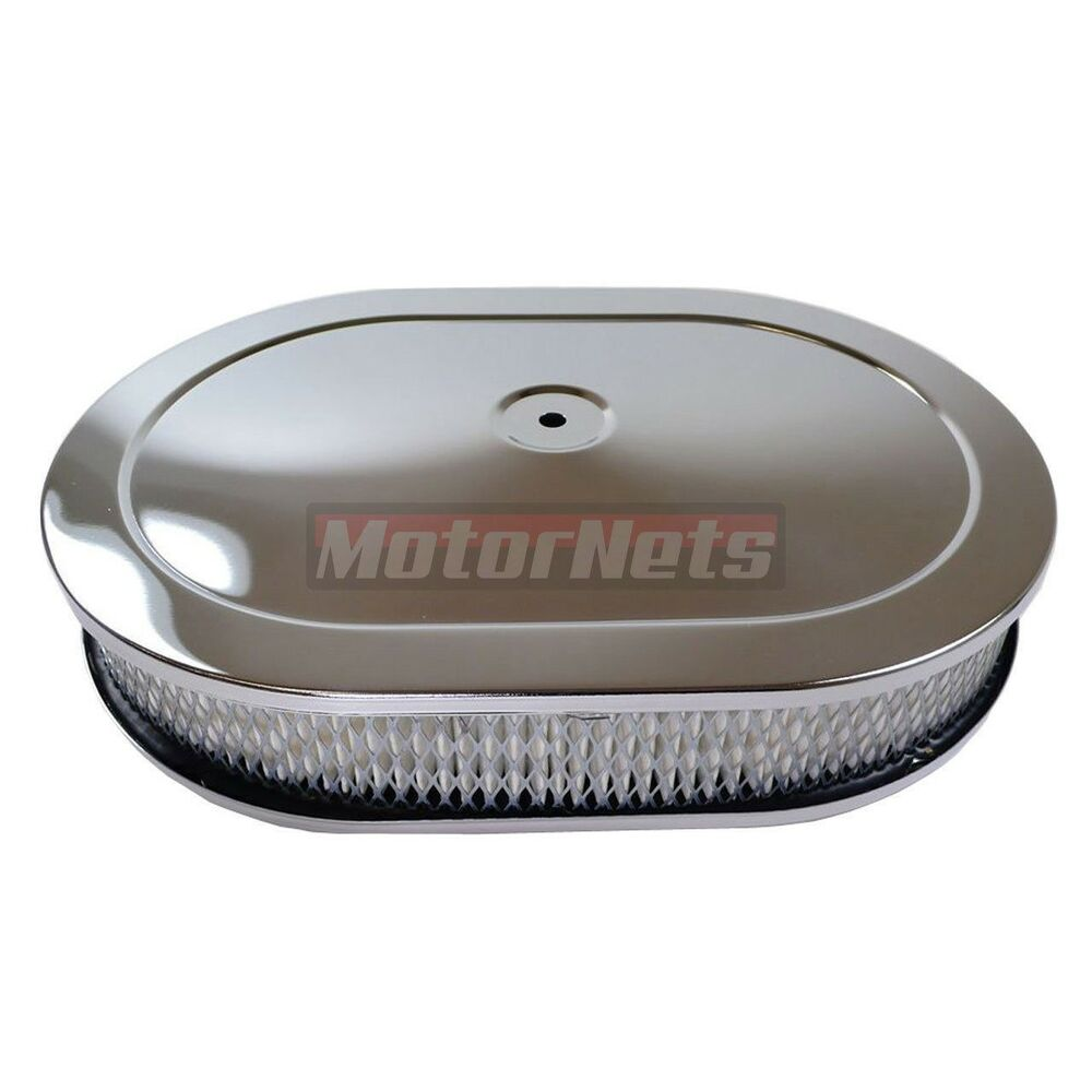 Breather Air Cleaner : Quot chrome oval hot rod rat breather air cleaner filter