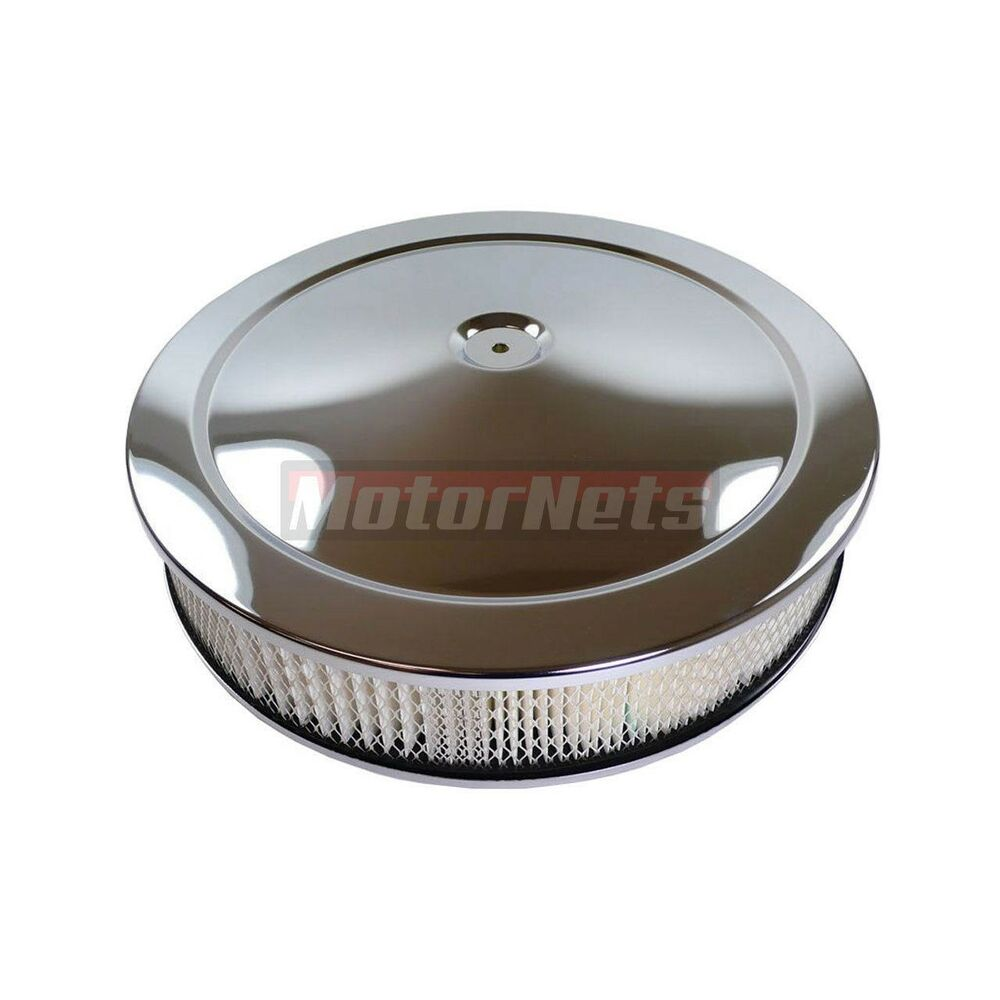 Breather Air Cleaner : Quot round chrome muscle car air cleaner street hot rod