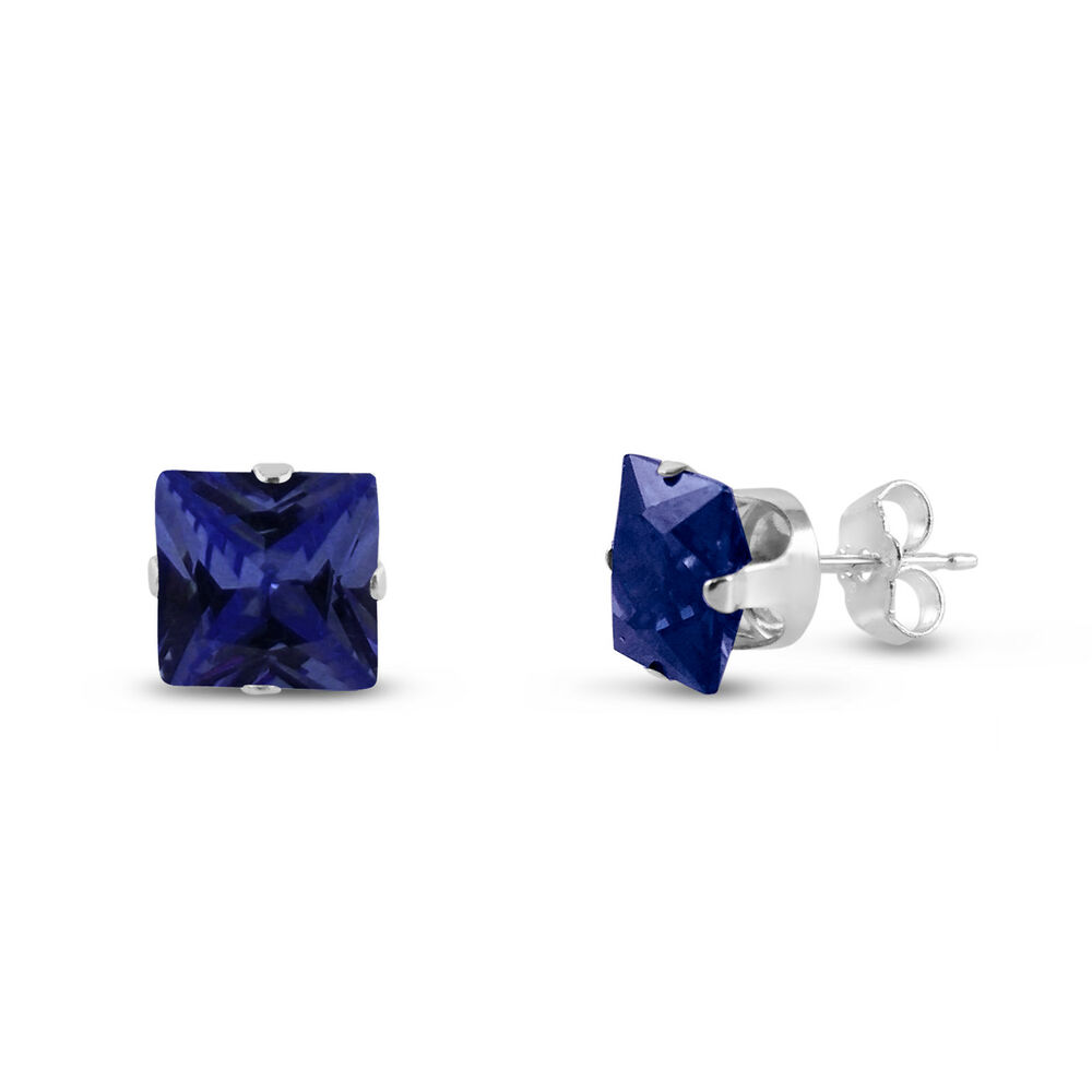 925 sterling silver square stud earrings simulated blue