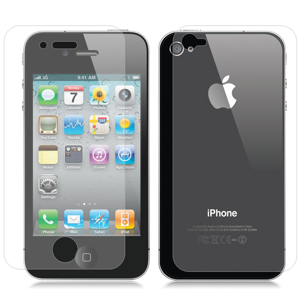 iphone 4s 4g 2pcs front back clear screen protector guard 10899