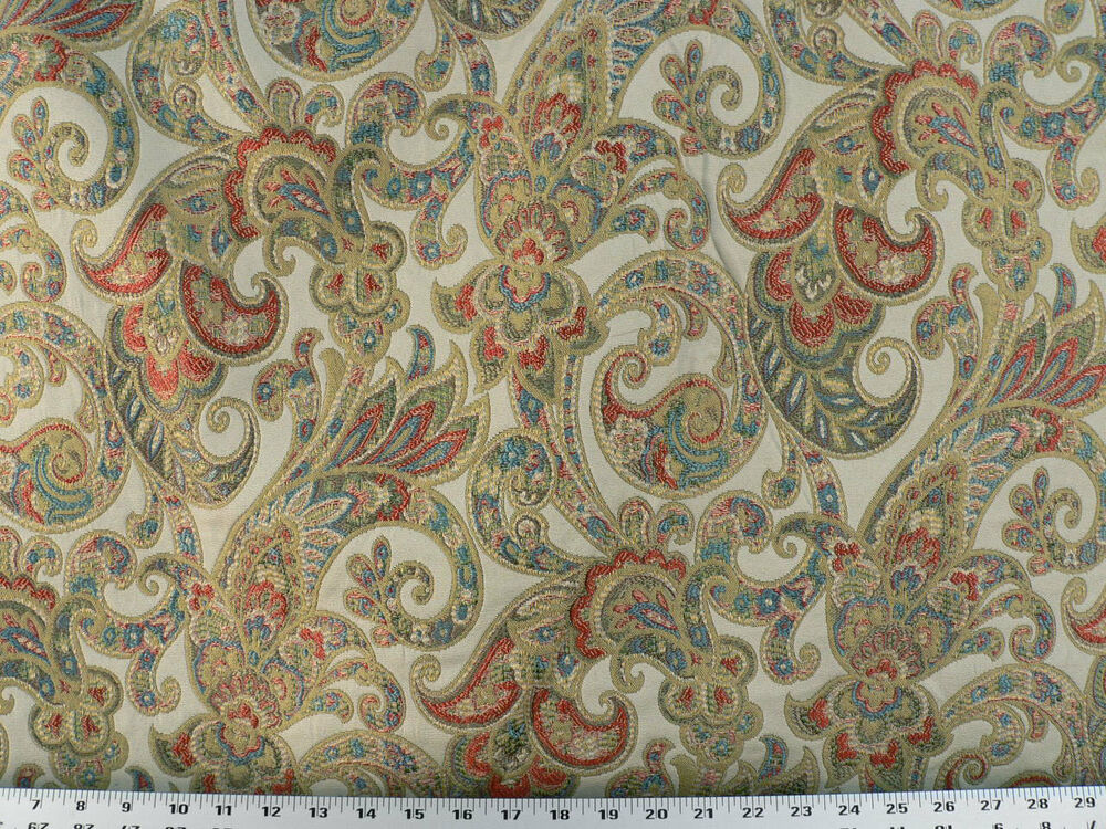 Drapery Upholstery Fabric Woven Jacquard Paisley Floral