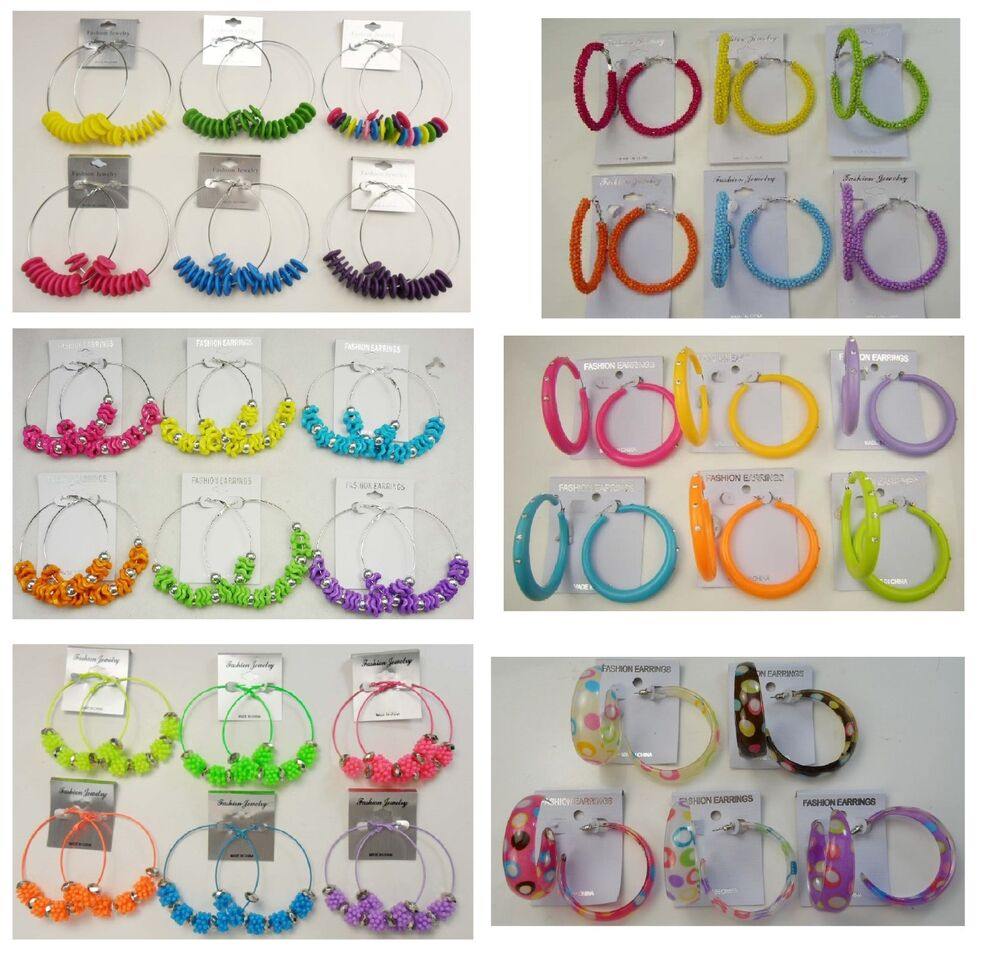 A 50 Wholesale Jewelry Lot 10 Pairs Colorful Fashion Hoop Earrings Ebay