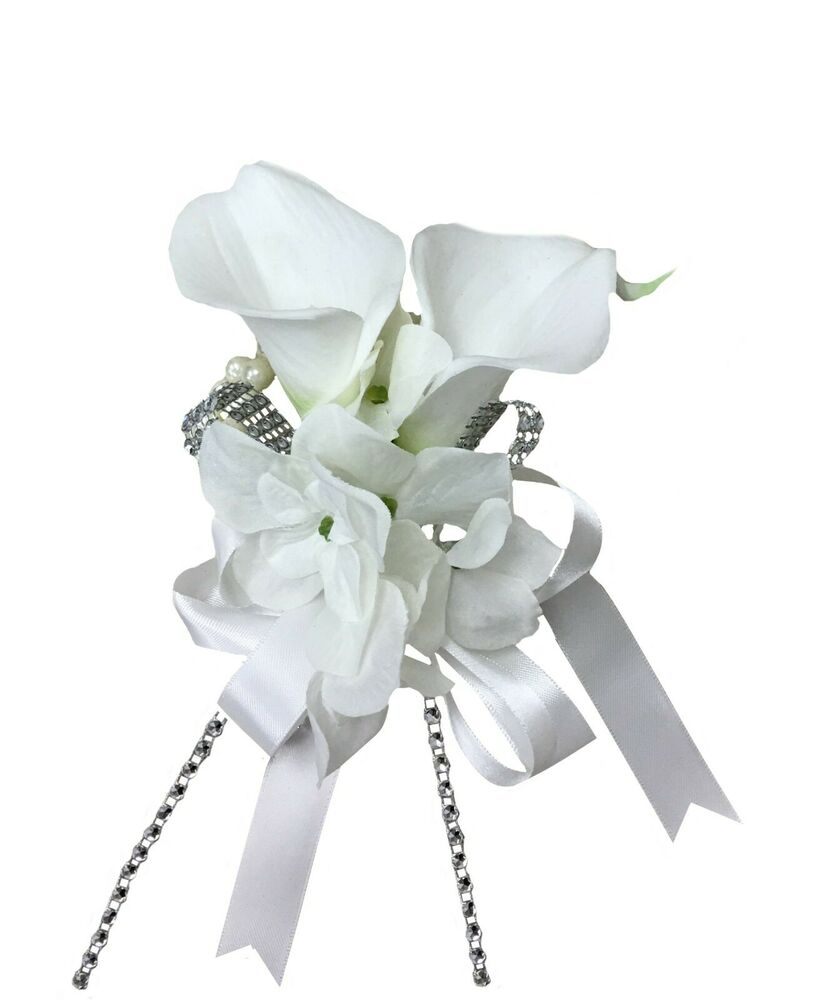 Wrist Corsage: Wrist Corsage:Real Touch Calla Lily With Hydrangea Perfect