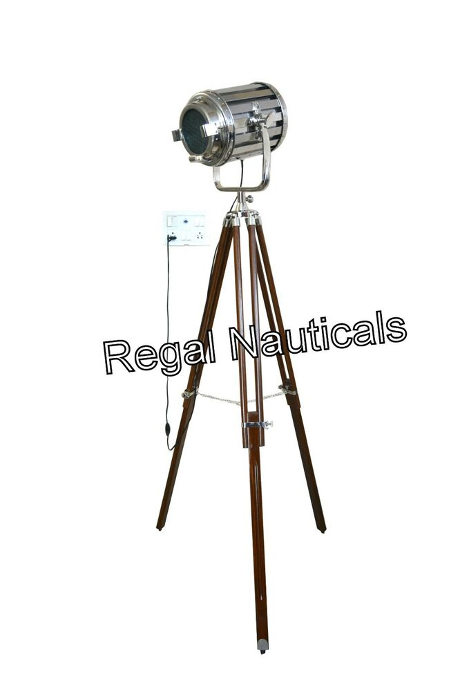 Designer marine floor lamp studio spotlight tripod floor for Winston studio spotlight floor lamp on tripod