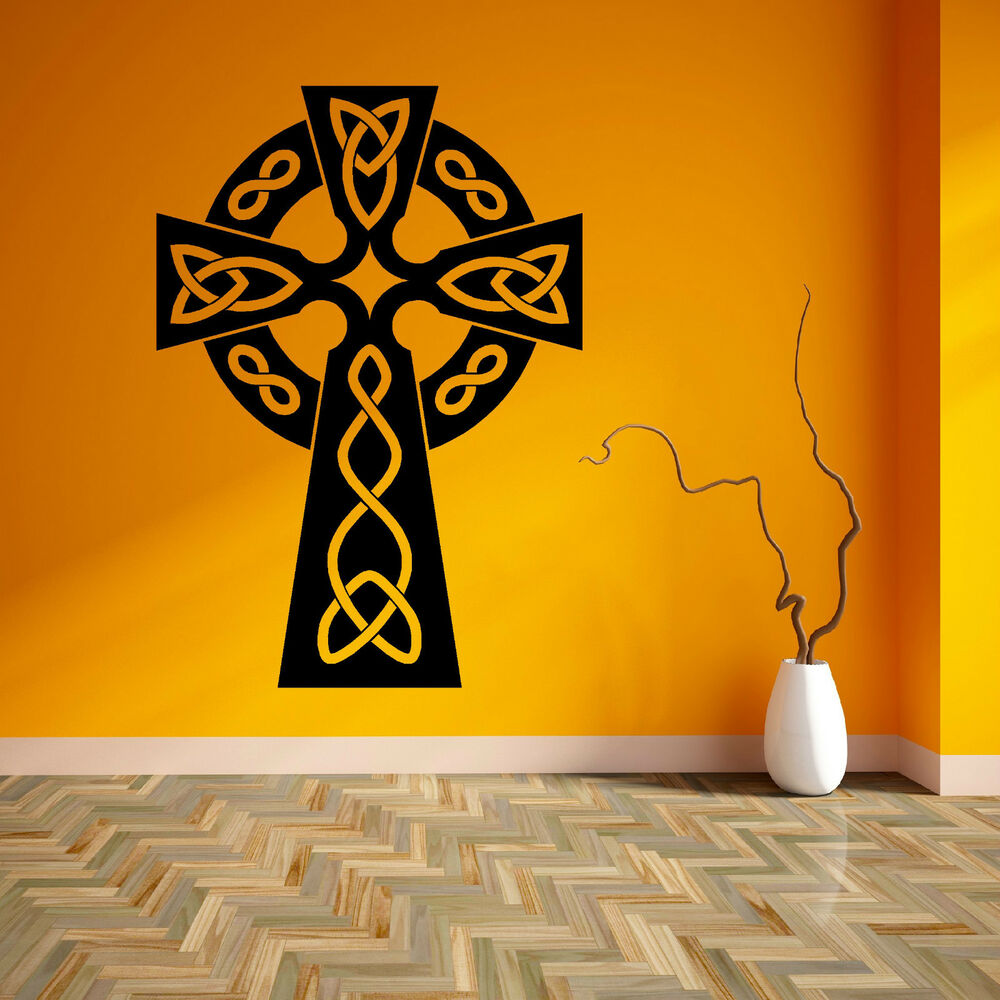 celtic cross symbolic religious spiritual vinyl wall art sticker decal ebay. Black Bedroom Furniture Sets. Home Design Ideas