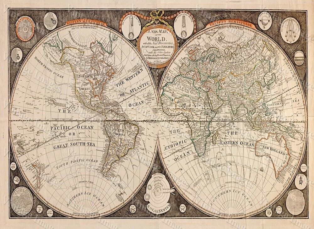 Huge Historic 1799 Thomas Kitchen Antique Style Map Of The