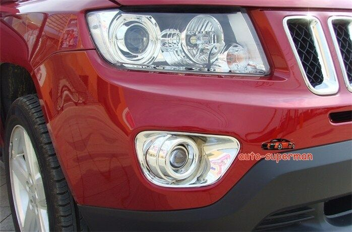 Chrome front fog light lamp cover bezels trims for jeep - 2016 jeep compass interior lights ...