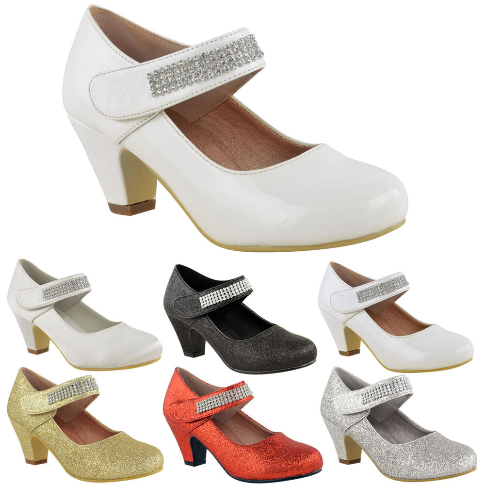 Girls Lace Party Wedding Communion Low Heel Sandals Shoes Size