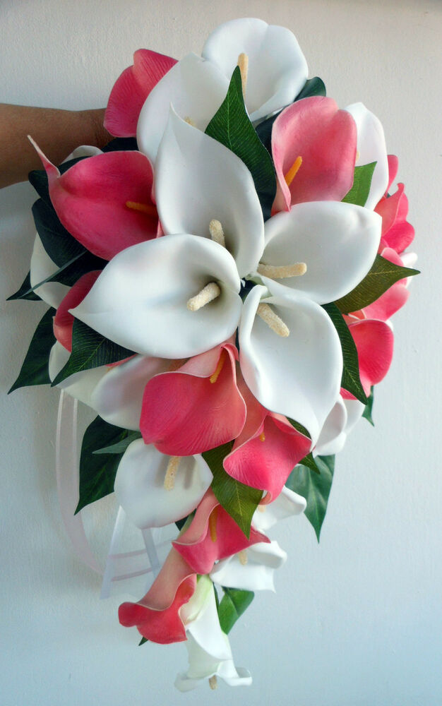 Wedding flowers ivory latex foam real touch pink calla