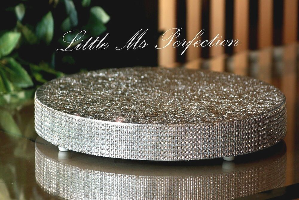 diamante crystal wooden cake stand board wedding display silver gold