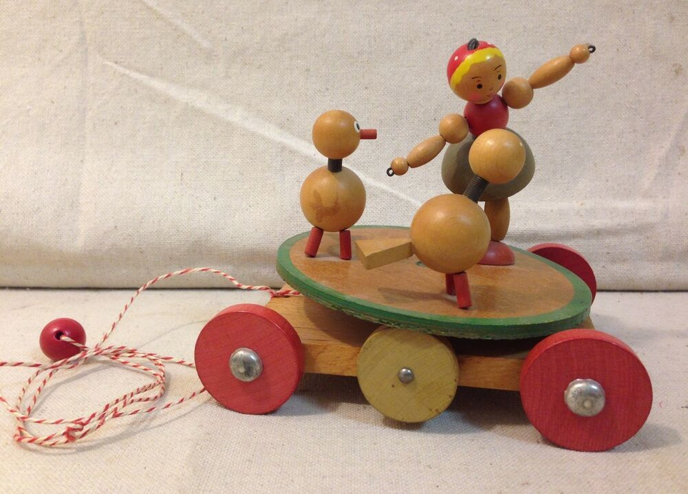 Pull Toys For Girls : Vintage austrian wooden pull along little girl with farm