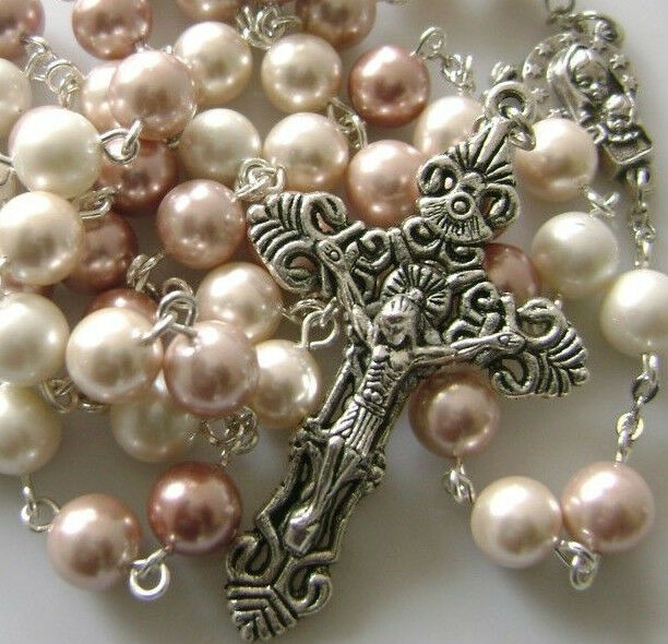 8mm Mother Of Pearl Beads Rosary Amp Old Silver Cross