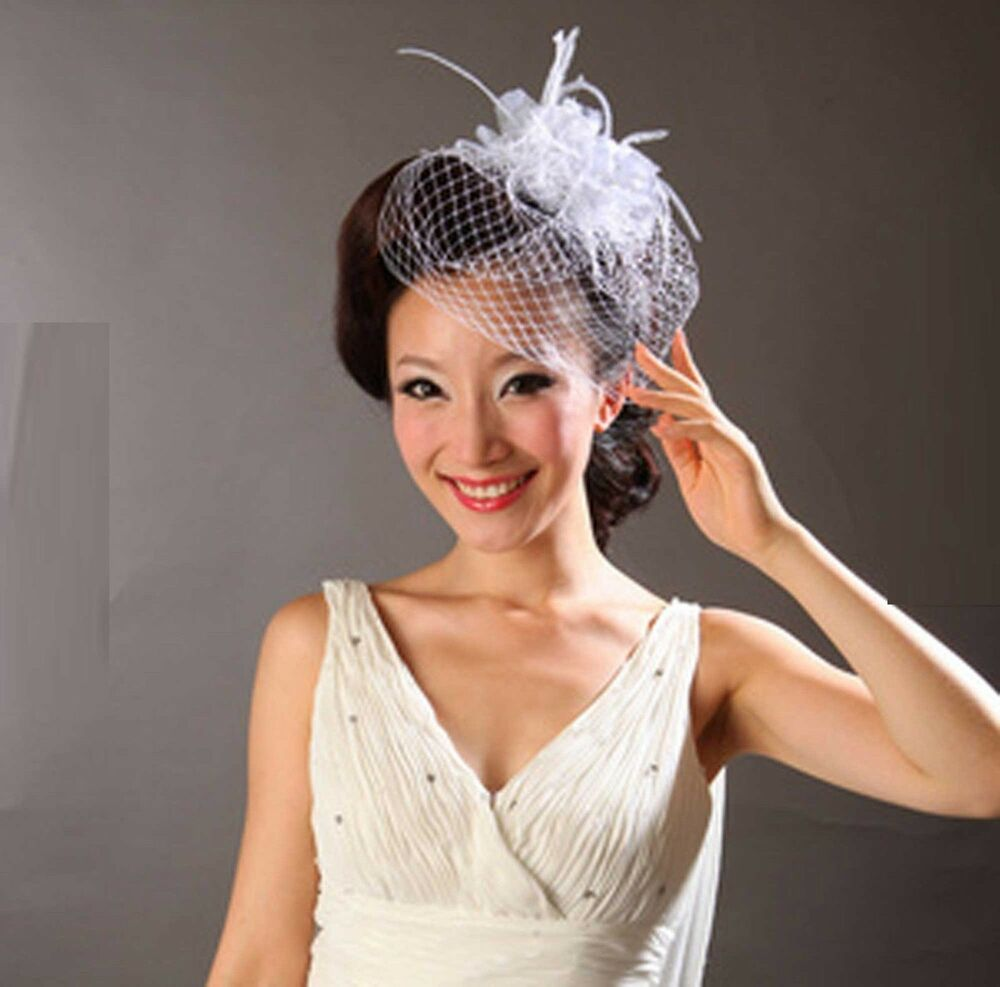 Rhinestone Crystal Bridal Wedding Flower Birdcage Veil Net Hair Comb Fascinator | EBay