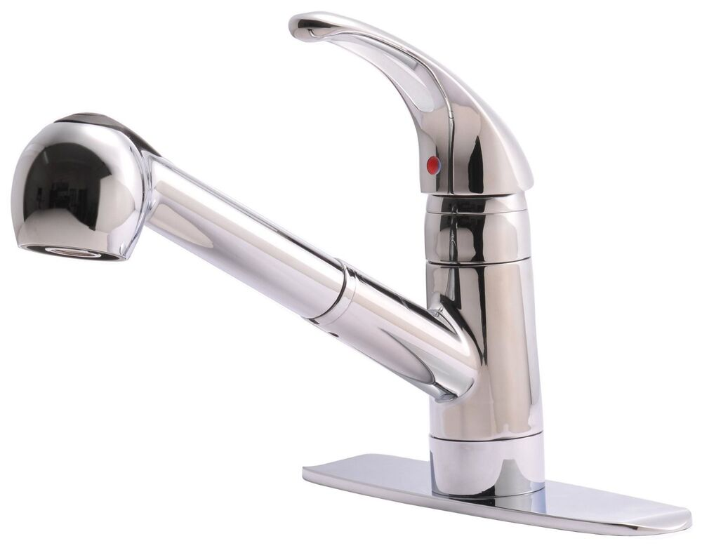 Classic Single Handle Kitchen Sink Faucet With Pull Out Spray Chrome Finish