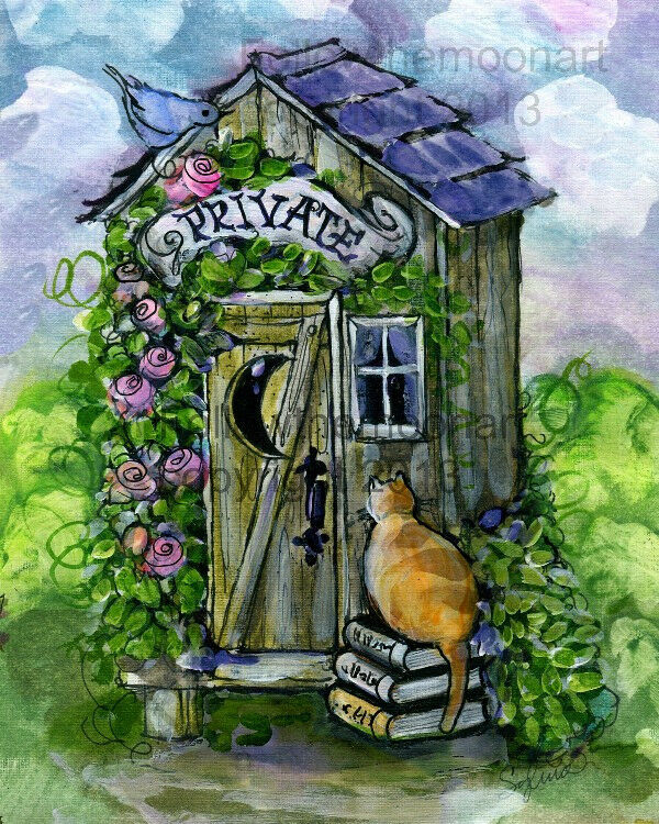 Private Cat Bath Flowers Outhouse Kitty Bird Bathroom