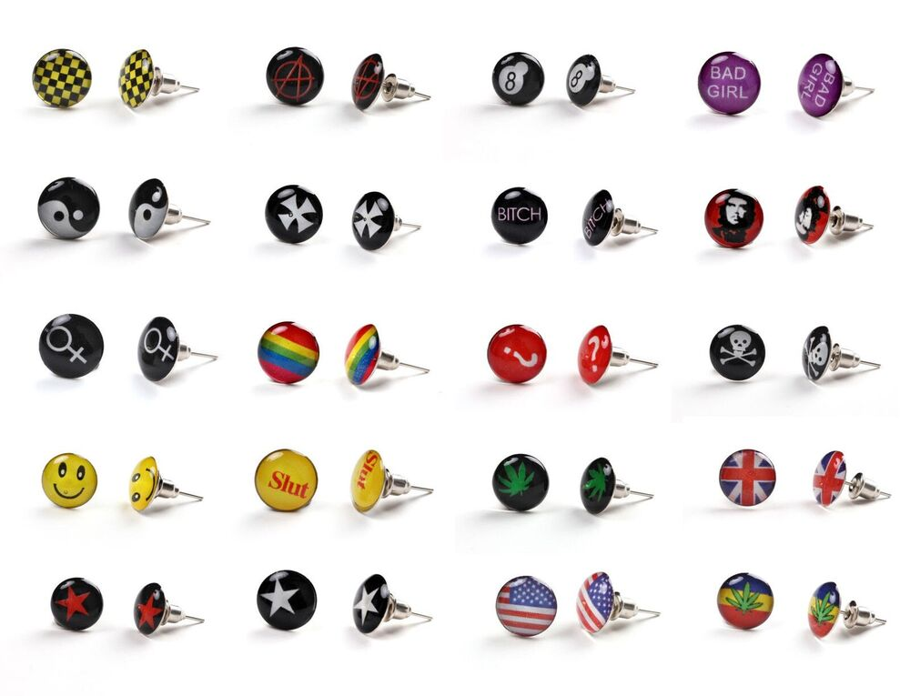 Logo Stud Earring Ear Ring Men Women Boys Girls Unisex ...