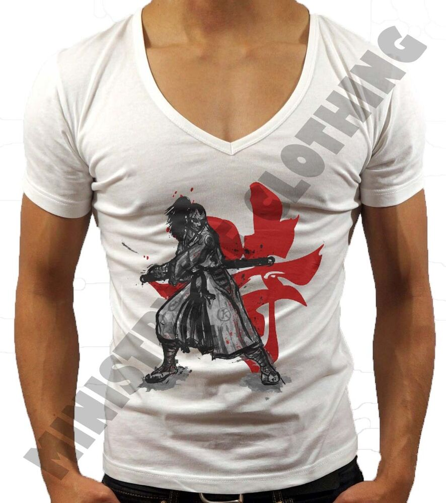 Mens Deep V Neck T Shirt Samurai Mma Summer Holiday T