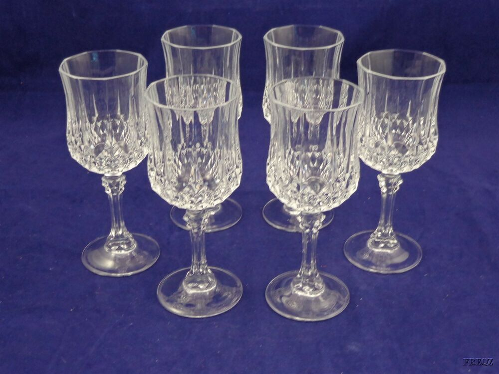 6 diamond cut crystal flared wine glass goblets ebay for How to cut yourself with glass