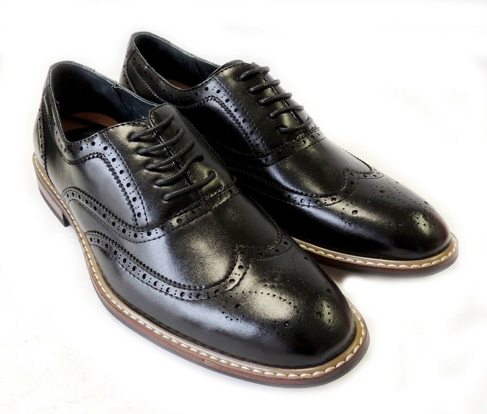3e324ccb5 NEW FASHION MENS LACE UP WINGTIP OXFORDS CASUAL LEATHER LINED DRESS SHOES  Black
