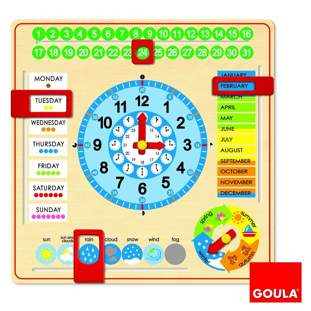 goula wooden calendar clock months years season educational learning teach time ebay. Black Bedroom Furniture Sets. Home Design Ideas