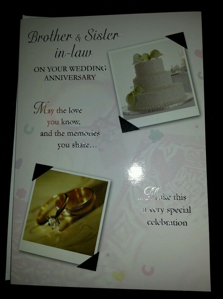 Wedding Anniversary Gift For Brother In Law : Brother and Sister in Law On Your Wedding Anniversary Card eBay