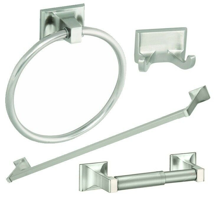 4 Piece Bathroom Hardware Bath Accessory Set Satin Nickel Ebay
