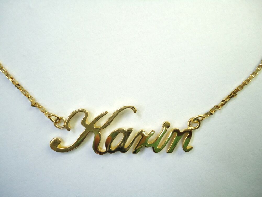italic 14k gold plated name plate w chain necklace any