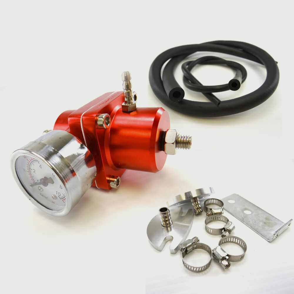 red adjustable fuel pressure regulator 0 140 psi gauge hose kit ebay. Black Bedroom Furniture Sets. Home Design Ideas