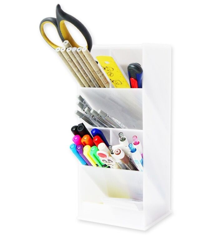 Desk Styler White Acrylic Pen Case Holder Desktop Desk