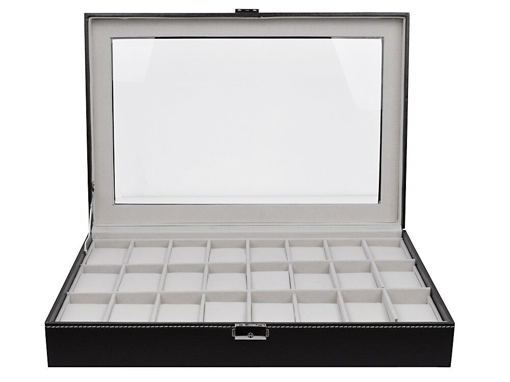 Large watch box leather 24 mens black display jewelry glass top case organizer ebay for Watches box