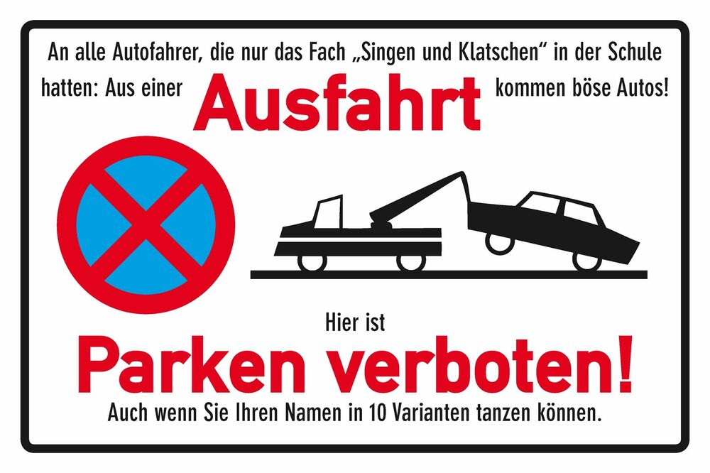 blechschild ausfahrt freihalten funschild warnschild 20x30 cm 23046 ebay. Black Bedroom Furniture Sets. Home Design Ideas