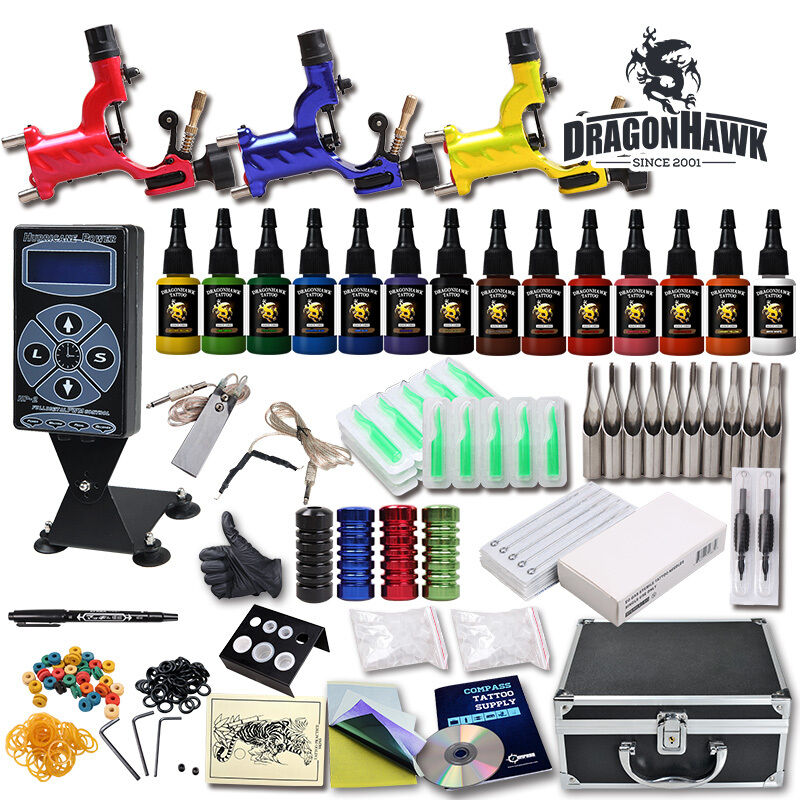 Great tattoo kits 3 rotary machine new design power box for Tattoo supplies ebay