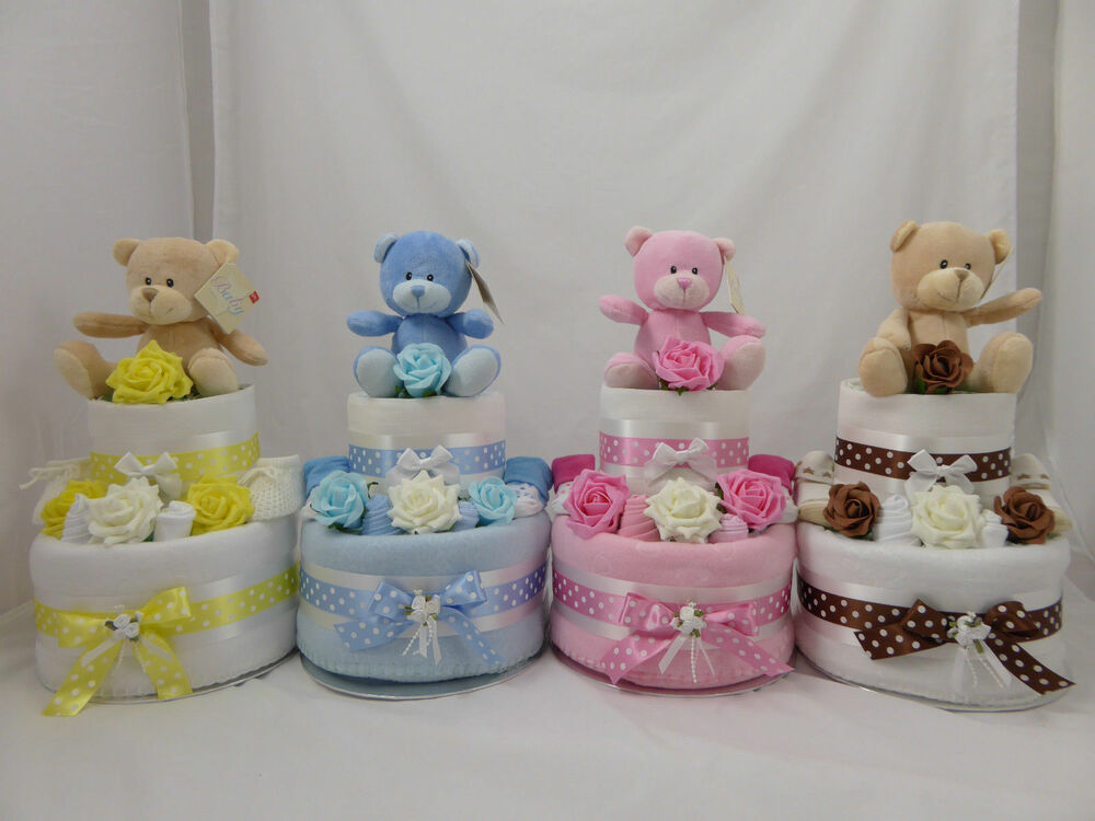 Baby Gift Nappy Cake : Two tier nappy cake new baby shower gift with teddy