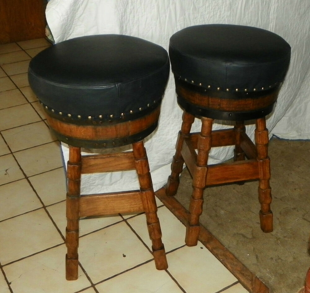 Oak Bar Stools ~ Pair of solid oak barrel bar stools jlc sc ebay