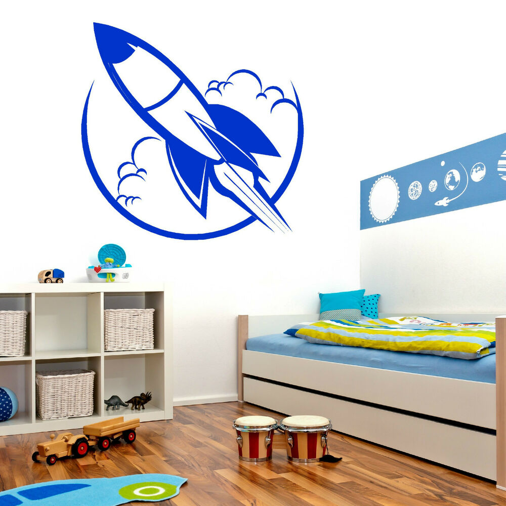 rocket toy space ship childs vinyl wall art sticker decal. Black Bedroom Furniture Sets. Home Design Ideas