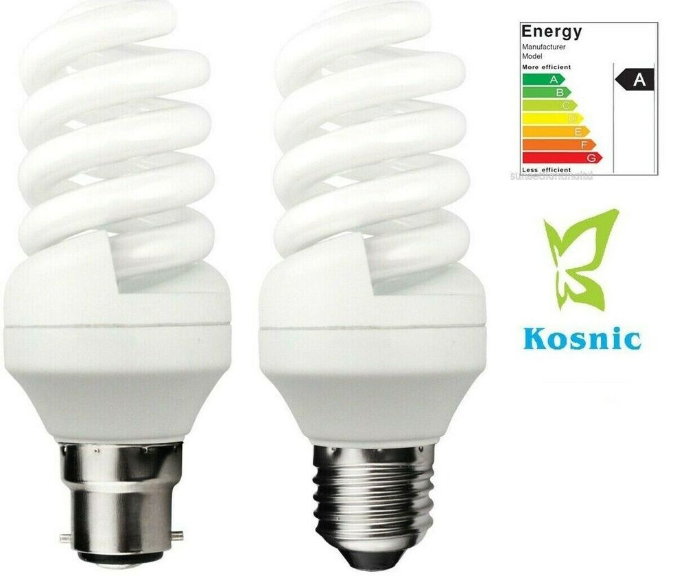 Kosnic regular spiral quick start energy saving cfl compact fluorescent bulbs ebay Fluorescent light bulb