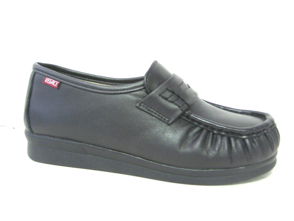 vegace black leather shoe comfort restaurant loafer