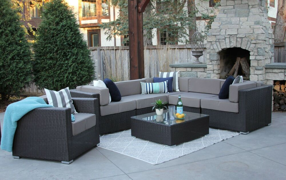 7PC Patio Set Modern Outdoor Sectional Sofa Furniture Rattan Wicker ...