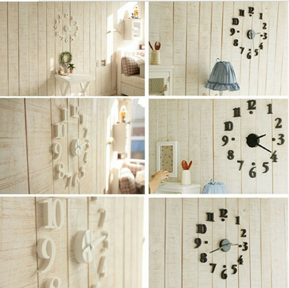 Digital wall clock diy modern time design decor home room for Home design diy