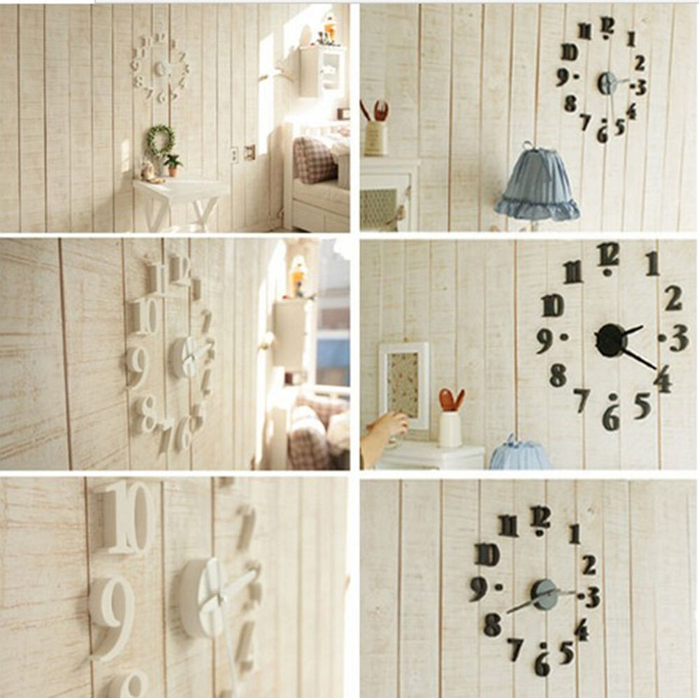 Digital Wall Clock Diy Modern Time Design Decor Home Room