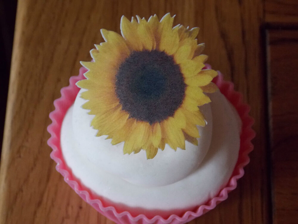12 PRECUT Edible Sunflowers wafer/rice paper cake/cupcake