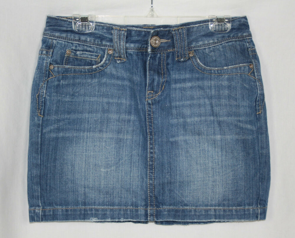 womens juniors aeropostale denim mini skirt size 5 6