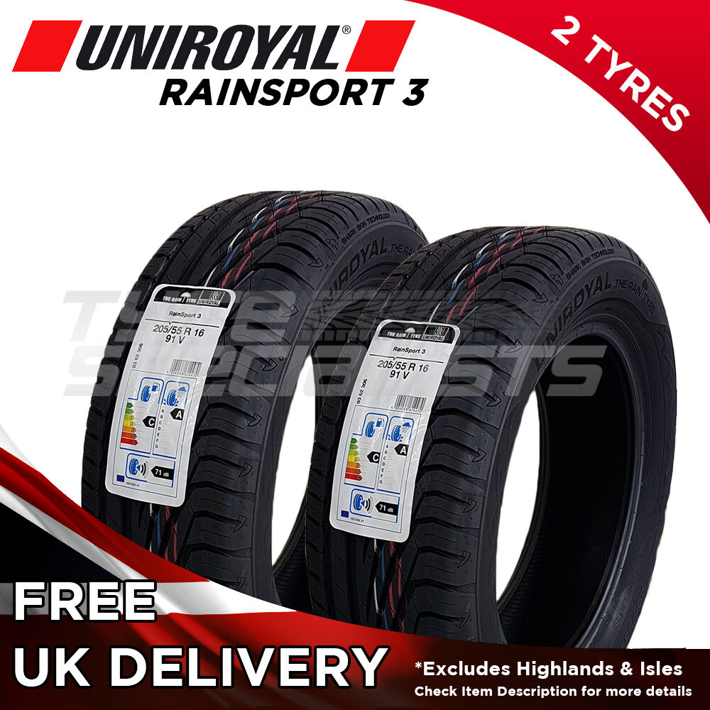 2x new 205 55 16 uniroyal rainsport 3 205 55r16 91v 2 tyre a wet grip tyre ebay. Black Bedroom Furniture Sets. Home Design Ideas