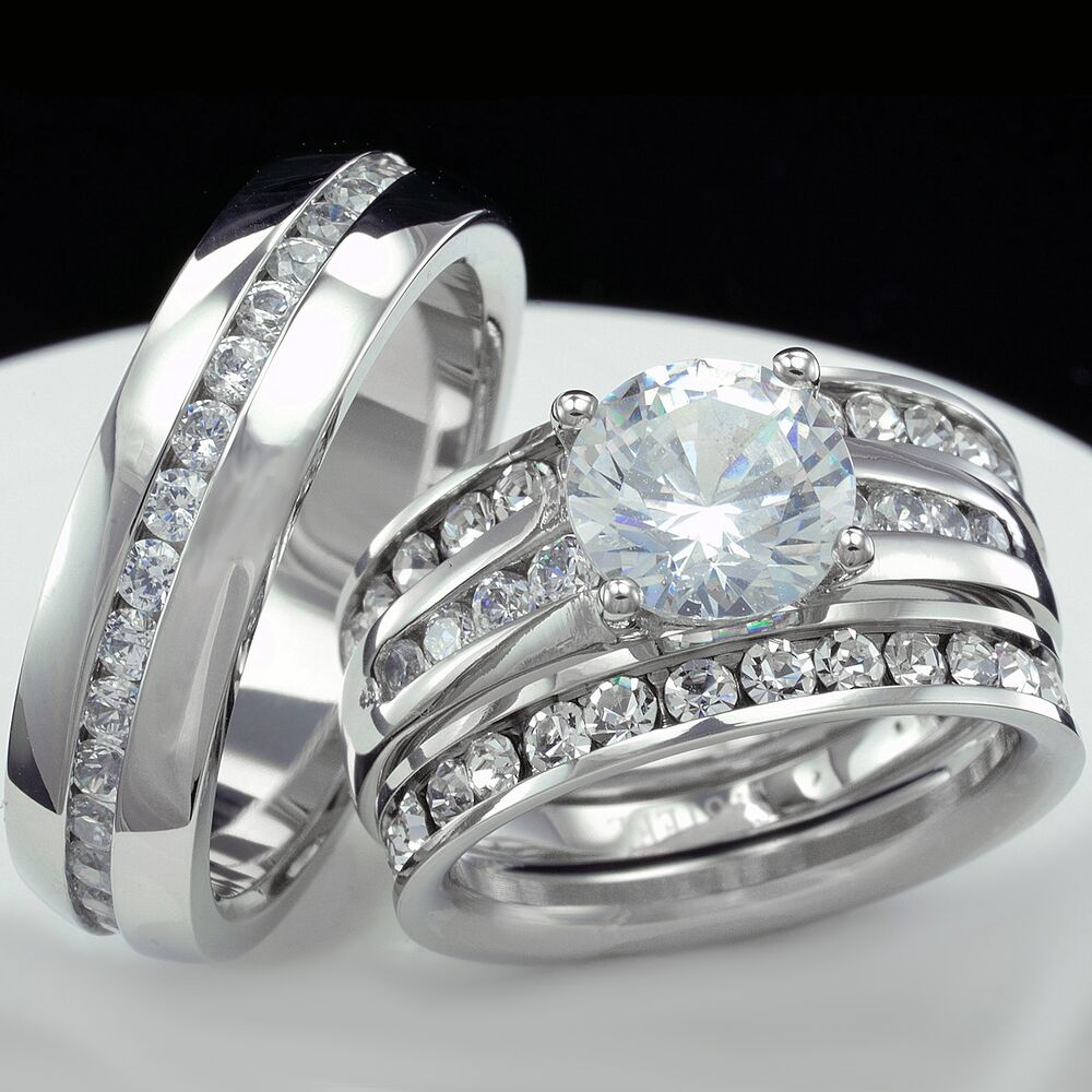 Wedding Band Women: Women Engagement Wedding Ring Set And Men Wedding Bridal