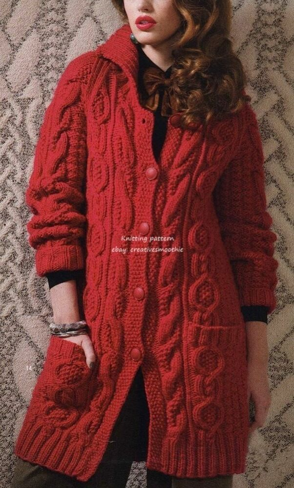 (549) Chunky Knitting Pattern for Ladies Aran Jacket/ Coat eBay